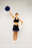 Cheerleader with pom-poms (thumbnail)