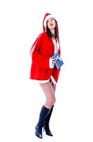 Sexy woman in santa suit, holding a present