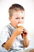 Boy eating ice-cream