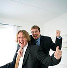 Businessmen smiling with hand gestures showing accomplishment (thumbnail)