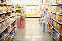Aisles of Food in Grocery Store