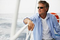 Man Relaxing on Boat