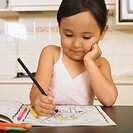 Asian girl coloring