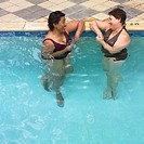 Multi-ethnic senior women in swimming pool