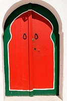 Red and green doorway, Sidi Bou Said. Tunisia