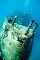 Scuba diver on wreck Berwind. Bridgetown. Barbados