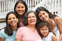 Multi-generational Hispanic female family members