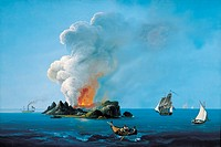 Eruption of Ferdinandea volcano, 1831, historical artwork  This volcano is in the Mediterranean Sea, around 30 kilometres off the coast of the Italian...