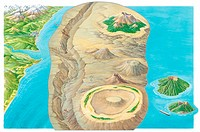 Types of islands  Cutaway artwork looking below the sea to show types of volcanic islands  At upper right a large volcanic island towers out of the se...