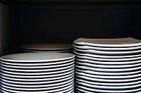 Stacks of clean plates