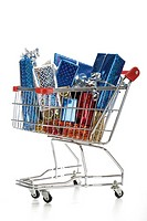 Supermarket trolley with christmas parcels (thumbnail)