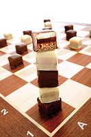 Domino cookies on chessboard