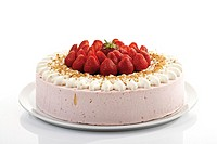 Strawberry-cream cake, close-up