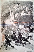 Witches and cats  Historical artwork by Steinlen, 1893  Steinlen was a Swiss-French art nouveau painter and printmaker, well-known for his studies of ...