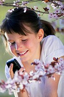 Young girl 10-11 using mobile phone