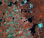 World´s most radioactive area  Infrared satellite image of the area around the Mayak Chelyabinsk-40 nuclear plant top centre, Russia, that is highly c...