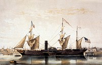 The Franklin  Historical artwork of the steam boat The Franklin in port at Le Havre, France  This ship, built in 1848, was the first ship to sail the ...