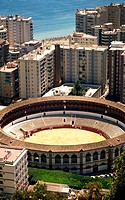 View of Malaga with bullfight arena, Andalusia, Spain