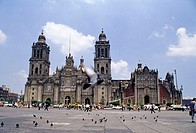 Cathedral at Plaza de la Constitución (the Zócalo). Mexico City. Mexico