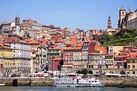 Portugal, Douro, Porto, Ribeira district skyline, Douro river