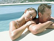 A couple relaxing in the water