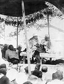 Mahatma Gandhi at the inauguration ceremony of a university at Varanasi, Uttar Pradesh, India, February 10, 1921