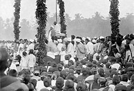 Mahatma Gandhi at a public meeting in South India, February 28, 1934 - MODEL RELEASE NOT AVAILABLE