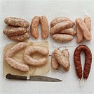Various types of sausages at the butcher´s