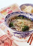 Asian noodle soup with broccoli