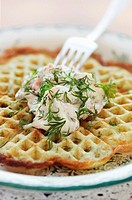 Shrimp salad on herb waffle