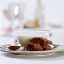 Biscotti with white chocolate soup