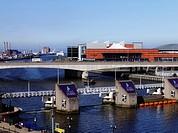 Lagan Weir, Odyssey Arena, M3 Bridge, River Lagan, Laganside