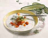 Cold cucumber soup with smoked salmon and cherry tomatoes