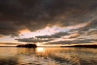 Sunset over Astotin Lake at Elk Island National Park in Alberta, Canada