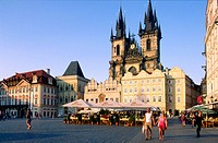 Church 'Notre_Dame_du_Tyn', built in 14 th. century, old town,  Staromestske square, Prague, Czech Republic