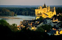 Castle of Montsoreau over the Loire river, built in a military style in the 15 th. century,  Maine et Loire, France
