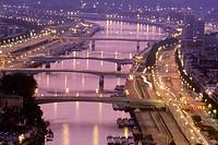 Bridges on the Seine river, Rouen, Seine maritime, Normandy, France