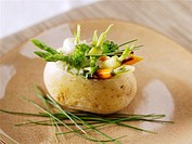 Potato stuffed with baby vegetables
