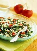 Rice salad with spinach and tomatoes Not available in IT