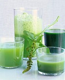 Various types of herb juices