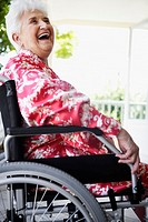 Smiling Senior Woman in Wheelchair
