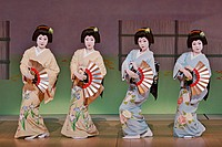 The Miyako Odori, a geisha dance performance, a maiko. Kyoto. Japan