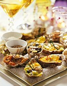 Oysters prepared in various ways