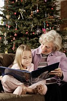 Grandmother and granddaughter reading book, smiling
