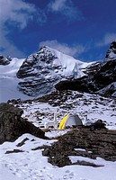 View of the Andes mountains, tent, snow sculpture  Region of Condoriri, Bolivia, South America