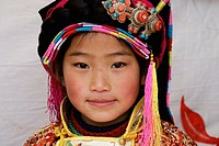 Tibetan girl in festival , Danba, Sichuan, China