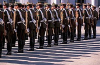 Soldiers outside Palacio de la Moneda Santiago, Chile, South America