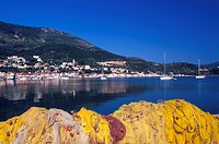 Vathy view and fishing nets Ithaki, Ionian Islands, Greece
