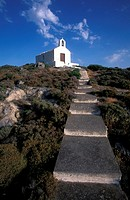 View of a small church in Kapsali, stairs  Kythira, Ionian Islands, Greece