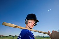Baseball player, in blue uniform, helmet and face paint (thumbnail)